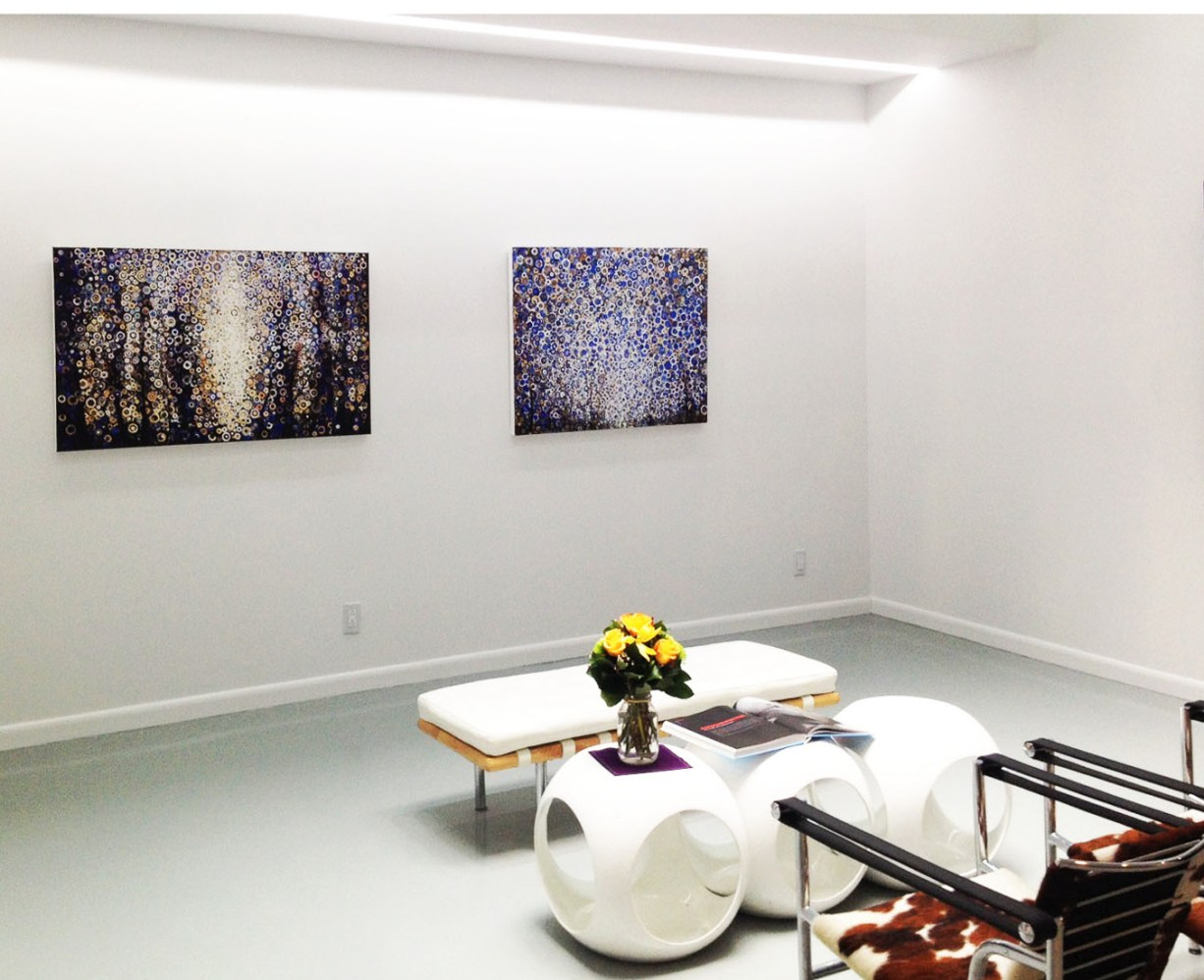 """Two paintings by Randall Stoltzfus hang at Blank Space Gallery in 2015. Left canvas is titled """"Break""""; to the right is """"Eighth""""."""