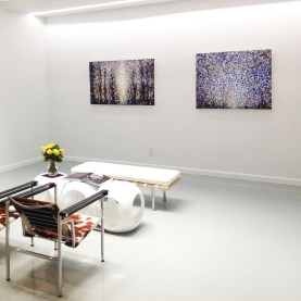 "Blue and White | The paintings ""Break"" and ""Eighth"" by artist Randall Stoltzfus hang in Blank space's Gansevoort Street Gallery in New York City"