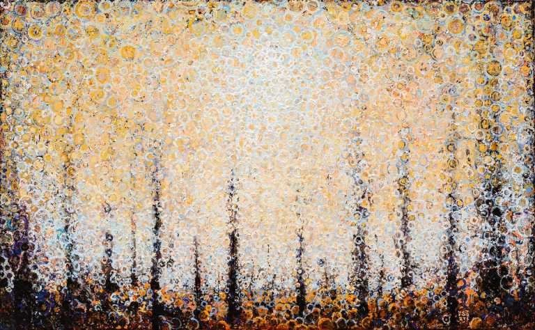"Luminous pale blue circles blend into a field of golden orange tones in the painting ""Acre"" by Randall Stoltzfus"