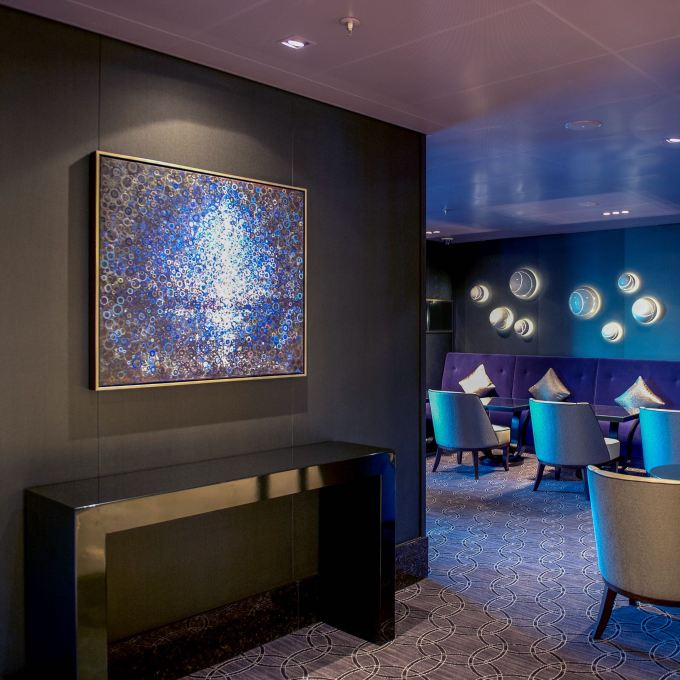 "The painting ""cove"" by Randall Stoltzfus installed aboard p&o cruises Britannia"