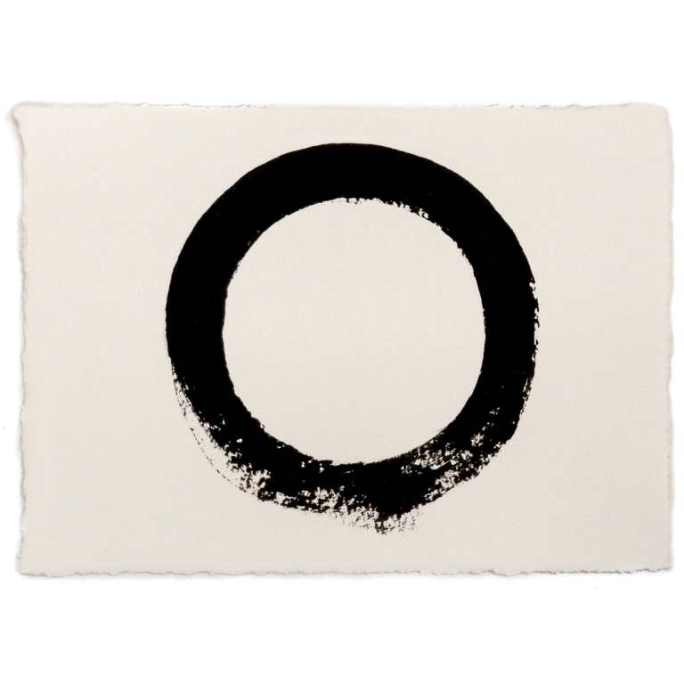 Imperfect Circle   Original 5 by 7 inch hand-painted black circle by Randall Stoltzfus