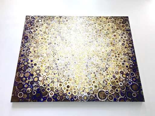 Randall Stoltzfus painting titled Crown photographed from below in raking light