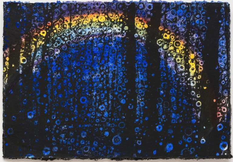 Postcard Art   A Rainbow Lost in the Forest   This watercolor and Digital Mixed Media Work on Paper was created by Brooklyn Artist Randall Stoltfus for the 2018 Visual AIDS Postcards from the Edge Benefit