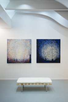 Randall Stoltzfus' Paintings Daylight and Moonrise hang at Blank Space in New York City