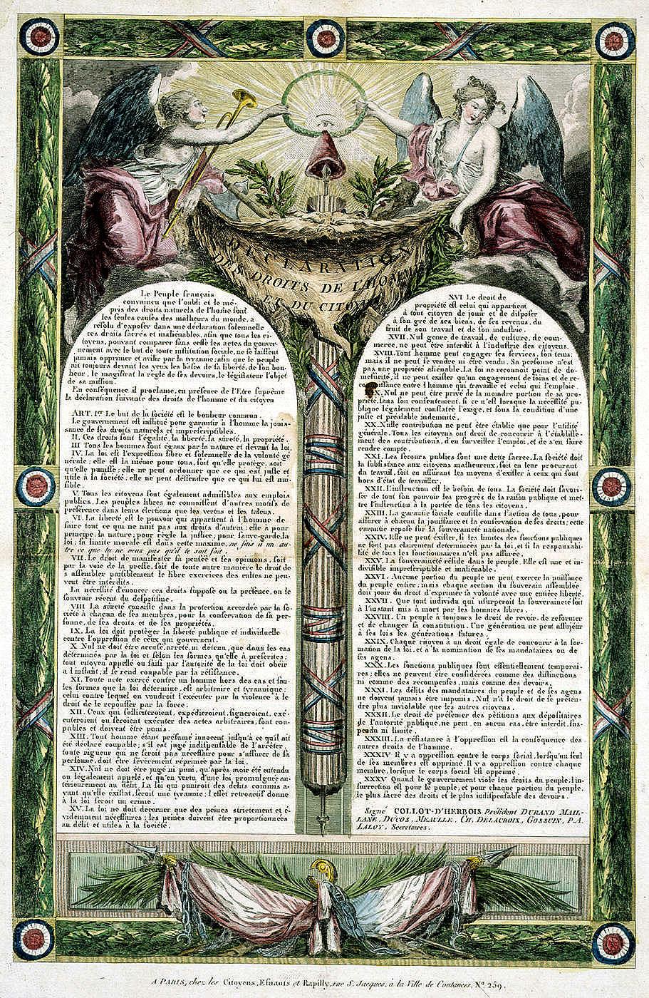 프랑스 인권선언 (1793)  http://upload.wikimedia.org/wikipedia/commons/9/95/Declaration_des_Droits_de_l'Homme_et_du_Citoyen_de_1793.jpg