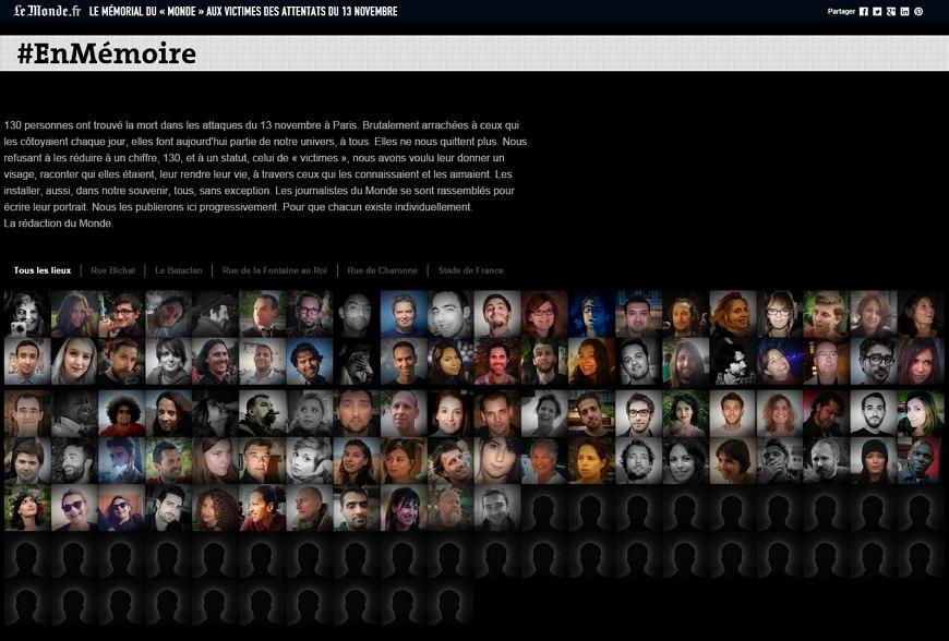 르몽드 추모 페이지 http://www.lemonde.fr/attaques-a-paris/visuel/2015/11/25/enmemoire_4817200_4809495.html