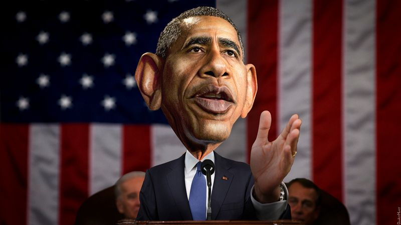 DonkeyHotey, Barack Obama - State of the Union, CC BY SA https://flic.kr/p/qSZp3T