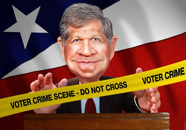 "DonkeyHotey, ""John Kasich - Crimes Against Ohio Voters"", CC BY https://flic.kr/p/kvdqFN"