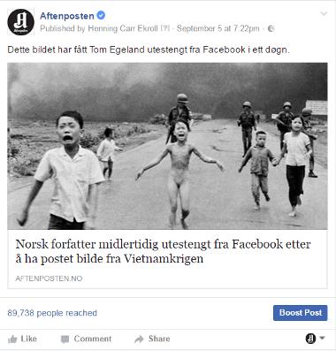 페이스북은 아프텐포스텐이 올린 사진을 임의로 삭제했다. '16년 가을의 일이다.