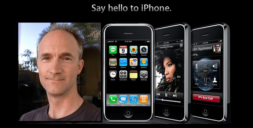 냉철하고 혁신적인 UI 디자이너 바스 오딩이 없었다면, 아이폰의 탄생은 훨씬 더 늦어졌을 것이다. (2007년 아이폰 광고 이미지 합성)