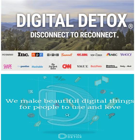 디지털 디톡스 운동을 벌이는 기관들의 홈페이지 홍보 문구 (출처 : digitaldetox.org(위), digital-detox.co.uk(아래))