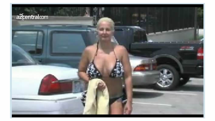 Screenshot of video of Independence, MO woman who claimed Adventure Oasis staff told her to cover up or leave.
