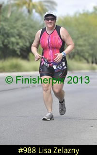 Photo of 2013 Ironman 70.3 World Championship competitor Lisa Zelazny on the run course.
