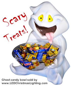 product photo of a ghost holding a candy bowl