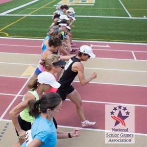 Color photo of women racewalkers with National Senior Games logo watermark