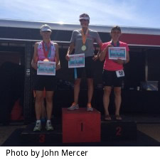 Color photo of Laura Mercer third place finisher in her age group in the Olympic race at Sand Hollow Triathlon.