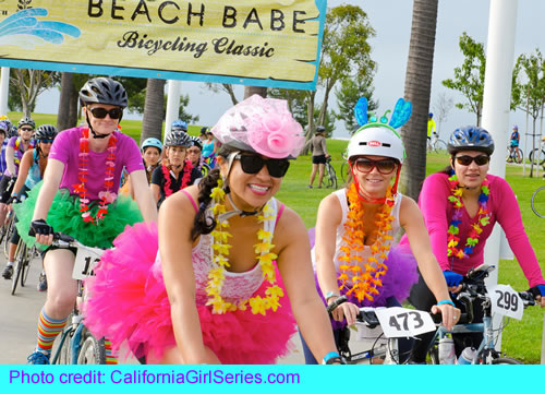 Color photo of costumed women cyclists at Beach Babe Bicycling Class. Photo credit California Girl Series.