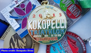 Color photo of some of Bonnie's triathlon finisher medals