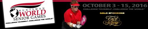 Huntsman World Senior Games web banner with pickleball player