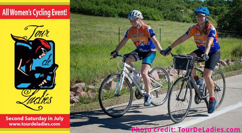 screenshot of Tour De Ladies logo and two female cyclists