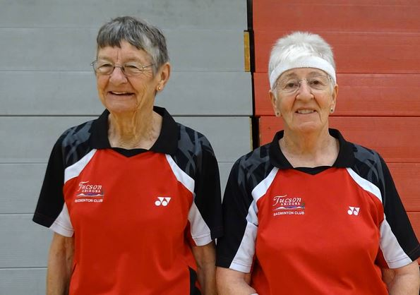 color photo of two senior female badminton players at 2015 Nevada Senior Games. Photo credit: Nevada Senior Games