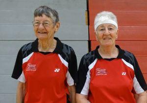 color photo of two senior female badminton players at 2015 Nevada Senior Games. Photo credit: Nevada Senior Games