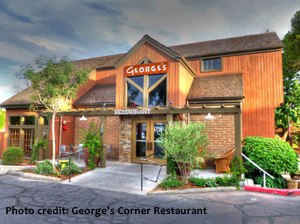 Color photo of George's Corner restaurant's front entrance in St. George, Utah