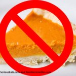 Color photo of pumpkin pie slice with red circle-slash overlay