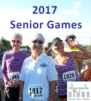 "text ""2017 Senior Games"" appears above color photo of three senior female race walkers"