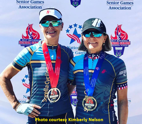 Color photo of Jennifer Klein, Kimberly Nelson, Sorella Cycling, 2017 National Senior Games 40K cycling road race