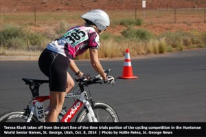 Color photo senior woman on bike Huntsman World Senior Games