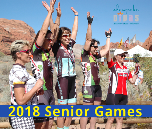 top five women in their age group at 2017 Huntsman World Senior Games 5K Time Trial cycling race. Photo by Bonnie Parrish-Kell