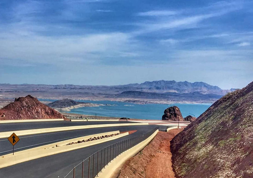 view of lake mead from interstate 11