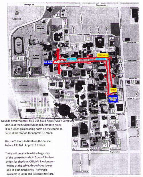Course map for 2018 Nevada Senior Games 5K & 10K running races