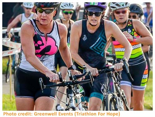 3 female triathletes with bikes