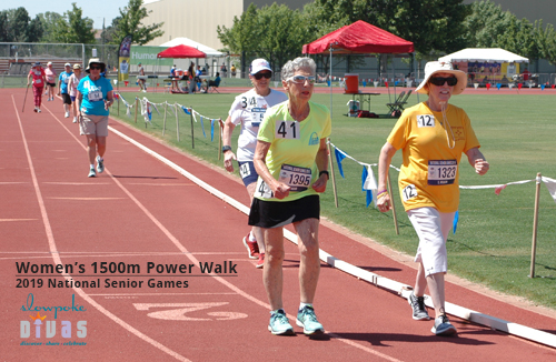women ages 75 and over compete on the track in 1500m power walk at 2019 national senior games