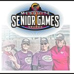 mesquite senior games logo and female athletes