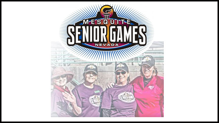 mesquite senior games logo and female athletes
