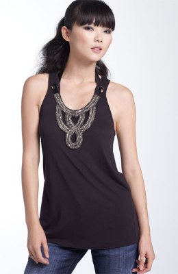 Haute Hippie 'Sultry' Embellished Jersey Tank
