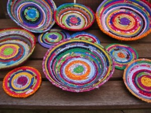 Coiled fabric bowls