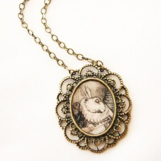On Sale - White Rabbit  - Alice in Wonderland Necklace