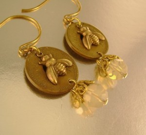 Honey Drippers - Vintage Amusement Token Honey Bee Sand Opal Earrings