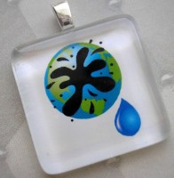 Earth is Crying - Glass Tile Pendant - Proceeds will go to the Gulf Coast Oil Spill Fund