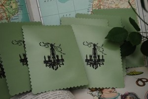 Notecards - Black Embossed Chandelier on Glossy Olive Green Cardstock - Set of Six (6)