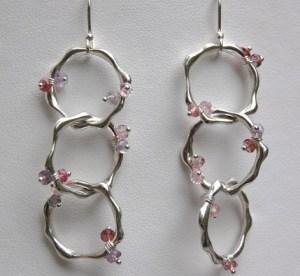 Small Teething Ring Triple Earrings- Encrusted