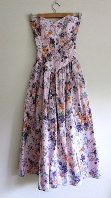 Vintage 1980s FLORAL Sweetheart Strapless BUSTIER Garden Dress