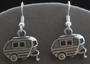 Camping Trailer Pewter Earrings