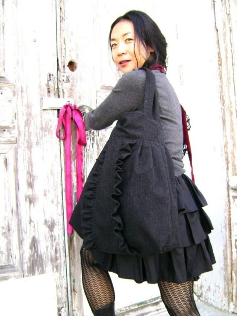 French Market Bag ... charcoal black ruffle tote from down de bayou