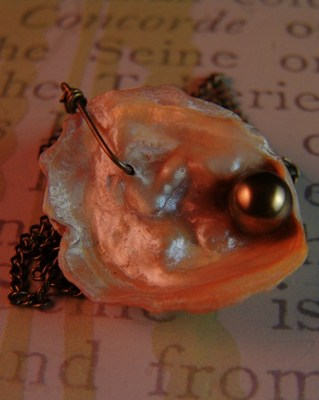 gulf oyster shell with bronze swarovski pearl