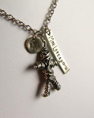 Marie Laveau Voodoo Charm necklace with hand stamped sterling silver accents